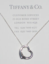 Tiffany & Co Elsa Peretti Sterling Silver 16mm Open Heart Pendant Necklace