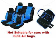 13PC BLUE/BLACK BUTTERFLY STYLE EMBROIDERED FULL CAR SEAT COVER SET + FLOOR MATS
