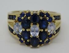 ***BEAUTIFUL 9CT YELLOW GOLD TWO TONE NATURAL BLUE SAPPHIRE RING SIZE UK L 1/2**
