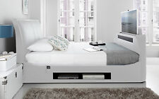 Maximus White Leather Multi Media Super King Size TV Bed Frame