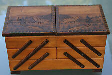 Antikes Nähkästchen - Nähschatulle aus Holz um 1900 Schwarzwaldmotiv Top !!!