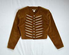 DOUBLE D RANCH Golden Brown Cotton Velvet Bone Beaded Crop Western Jacket Top L