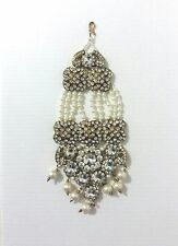 New Bollywood Indian Costume Jewellery Jhumar Head Piece Stone Pearl White Gold