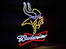 """Budweiser Minnesota Vikings NFL Beer Bar Shop Open Neon Sign 19""""x15"""""""