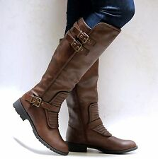 New Women FLiv Brown Black Quilted Riding Knee High Biker Boots 6 to 10
