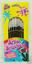 Pack of 12 Artbox Point Paint Brush Kids School Craft Thin Wooden Handle Brushes