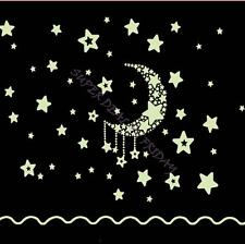 Moon And Star Ceiling Fluorescent Glow In The Dark Home Decorate Wall Sticker