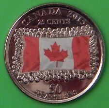 2015 Canada Flag Colorful Quarter From Mint Roll