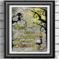 ART PRINT DICTIONARY BOOK PAGE Gothic Alice in Wonderland Cat Magic Spell Quote