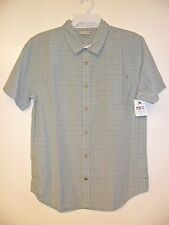 """RUSTY Men's S/S Button-Up Shirt """"Threaded"""" Gray - Large - NWT - Reg $65"""