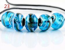 5pcs SILVER MURANO GLASS BEAD fit European Charm Bracelet Jewelry Making [23#]