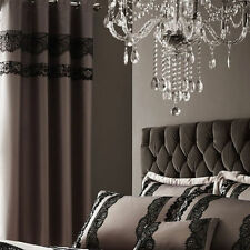 Catherine Lansfield Mocha Brown Eyelet Ring Curtains 66 Inch Wide x 72 Drop
