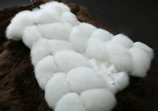 Womens Warm Gilet Ladies Long Slim Jacket Vest Faux Fox Fur Waistcoat Furry Coat