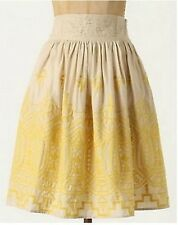 ANTHROPOLOGIE by TINY Sun Stitched Embroidered Yellow & Tan Skirt Size P