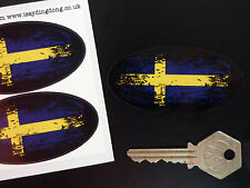 SWEDISH Flag Fade to Black Oval Car Motorcycle Stickers 75mm SWEDEN Cross Van