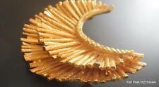 SIGNED stylized BSK golden CRESCENT heavily textured PIN brooch STAR BURST layer