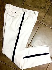 DOLCE & GABBANA RUNWAY WHITE & DARK BLUE STRIPE PANTS MEN'S TROUSERS SZ 52 (XL)