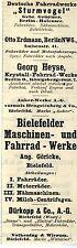 """Deutsche Fahrradwerke """"STURMVOGEL"""" Berlin u.a. Historische Reklame von 1908"""