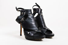 Christian Dior Black Leather Studded Platform Heeled Gladiator Sandals SZ 39
