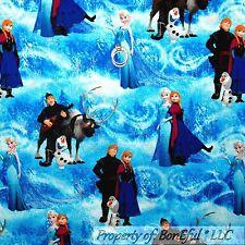 BonEful Fabric Cotton Quilt Blue Cloud FROZEN Disney Snowman OLAF Princess SCRAP