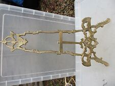 "Brass Easel Picture Stand Plate Holder Antique Style Rococo Gilt Leaf  19"" H"
