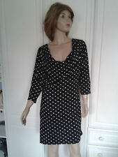BLACK & WHITE SPOTTED  JERSEY DRESS SIZE 12,LOW COWL NECKLINE