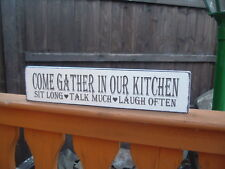 Wooden GATHER IN OUR KITCHEN free standing sign shabby vintage plaque