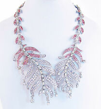 BETSEY JOHNSON Ballerina Rose Pink Feather Silver-Tone Collar Necklace $145