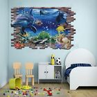 Sea Ocean Wall Sticker Large 3D Underwater Shark Dolphin Fish Decal Mural Decor