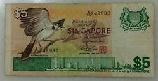 SINGAPORE $5 BIRD  BANKNOTE  - A/55 249983