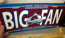Colorado Avalanche BIG FAN NHL hockey team plastic License Plate made in the USA