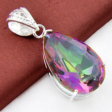 """Pure Love Rainbow Mystical Fire Topaz Gem Silver Drop Necklace Pandant 1 3/4 """""""