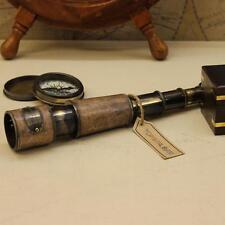 Antico Telescopio con scatola in legno in pelle che copre ottway riproduzione Spyglass