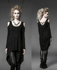 Punk Gothic Rock Black Long Cardigan Tee Shirt Top Visual Kei Women fashion F