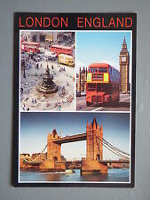 R&L Postcard: 1980s London Bus, Picadilly Circus, Tower Bridge Multiview