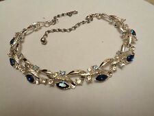 Vintage Designer ? Silver Tone Link Rhinestone & Sapphire Blue GLASS Necklace