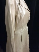 BEBE Women's Champaign 100% Leather Trench Coat Size L - NWOT