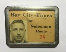 Vintage BAY CITY TIMES Michigan Newspaper Employee Paperboy Picture ID Badge