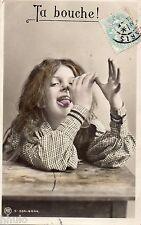 BL293 Carte Photo vintage card RPPC Enfant fantaisie grimace funny
