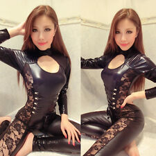 Hot Sexy Women's Lingerie Catsuit Lace Up Patchwork Bodysuit Clubwear Jumpsuit