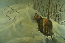 "Vintage Animals, Wildcat 24""X36"" Original Oil Painting on Stretched Canvas"
