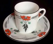 Red Poppy Demi Art Deco Cup Saucer Vincent Shape 1925 Shelley 11326 Bone China