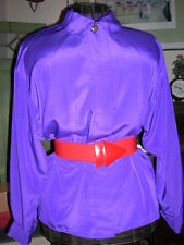 VinTage Purple Satin Blouse 14 French Style Cuffs Hong Kong Filigree buttons