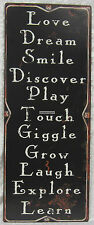 76x30cm Rustic Country Tin Wall Sign Love Dream Smile Discover Play Touch Giggle
