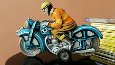 VINTAGE BIKER TIN TOY FRICTION MOTORCYCLE FLIM LEMEZ HUNGARY MADE 1970