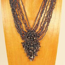 "18"" Hematite Color Stone Chip Cluster Handmade Seed Bead Necklace"