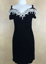 Little Black Dress Velvet Vintage By Choice  Beading Off Shoulder 9 Cocktail