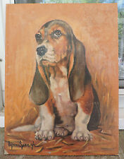 Vintage Mid-Century DOG Portrait Oil Painting BASSET HOUND Signed Lynn Spaugh