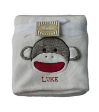 Baby Blanket Sock Monkey Embroidery Personalized Free Baby Shower Gift