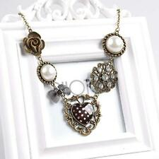 New Fashion Vintage Pearl Flower Heart Rhinestone Bronze Chain Pendant Necklace